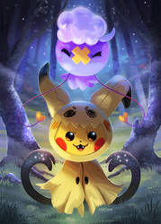 Spooky Pikachu and Drifloon