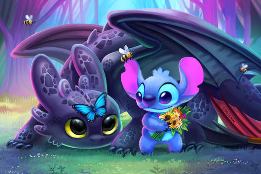Spring Toothless and Stitch