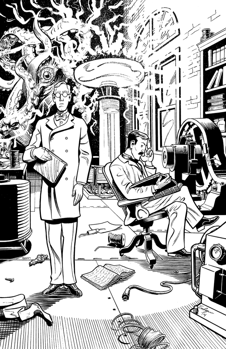 Herald: Lovecraft and Tesla issue 02 cover INKS by mistermuck