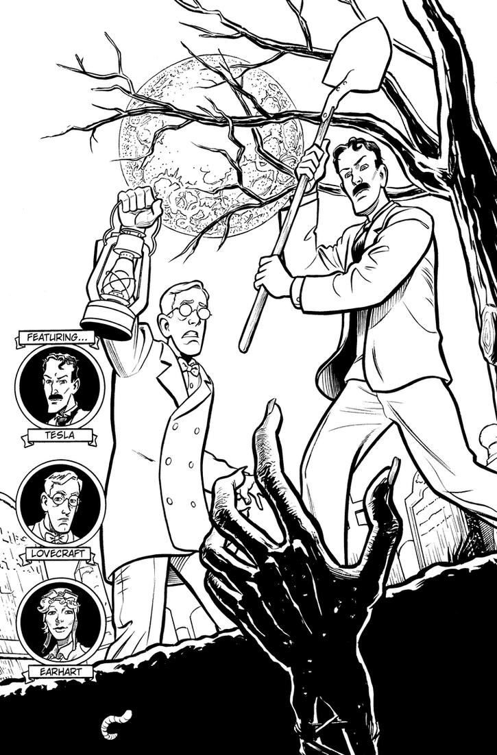 Herald: Lovecraft and Tesla issue 04 cover INKS by mistermuck