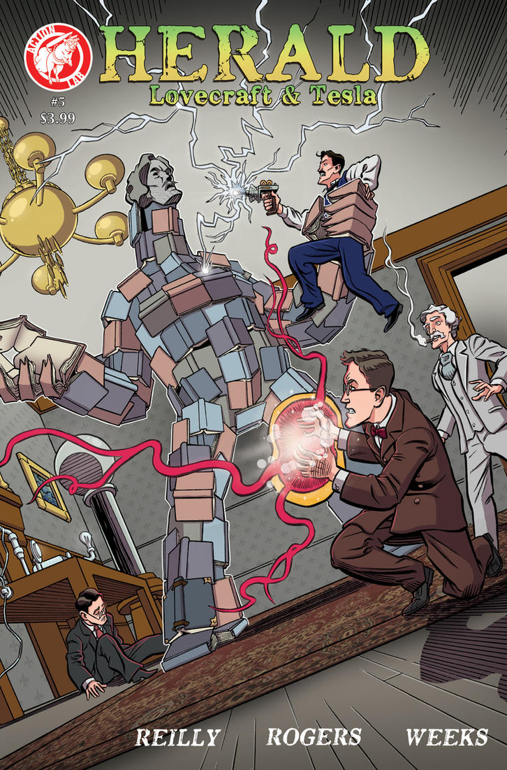 Herald: Lovecraft and Tesla issue 05 cover COLOR by mistermuck
