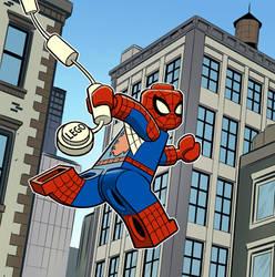 Lego Spidey a-webswingin' away!