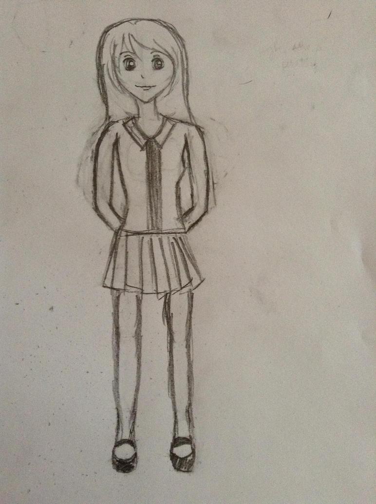 Anime girl full body edited by hotaruyoko on deviantart for Easy body drawings