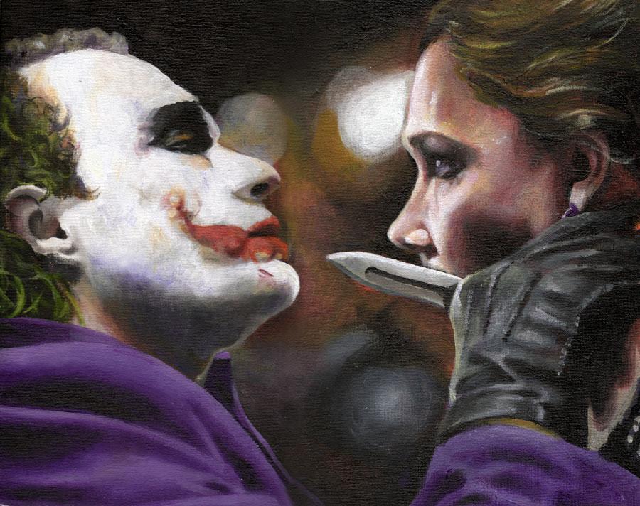 The Joker and Rachel Dawes by sullen-skrewt