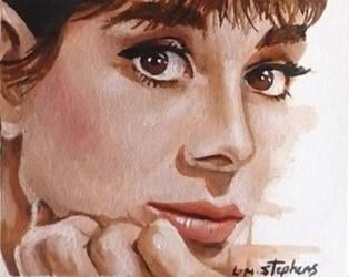 Audrey Hepburn ACEO by sullen-skrewt