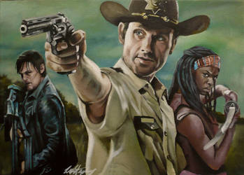 The Walking Dead:  Daryl, Rick and Michonne by sullen-skrewt