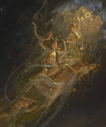 Apsaras Orchestra - Buddhist Heaven - Detail 2 by wang2dog