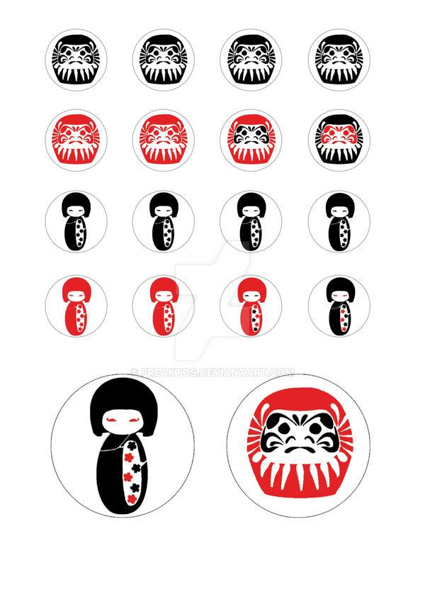 Daruma and kokeshi stickers by freaktos on deviantart for Stickers kokeshi