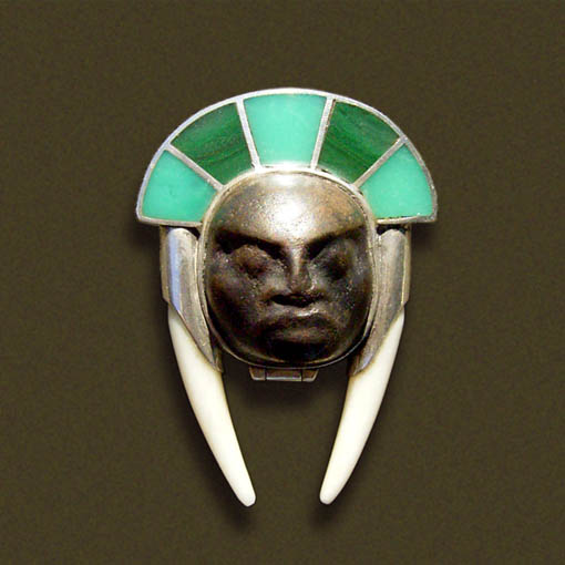 bronze face container pendant by morpho2012