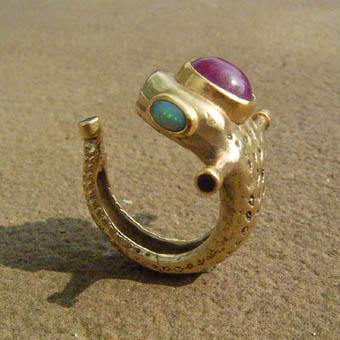 snaky creature ring by morpho2012