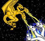 Angel vs. King Ghidorah...