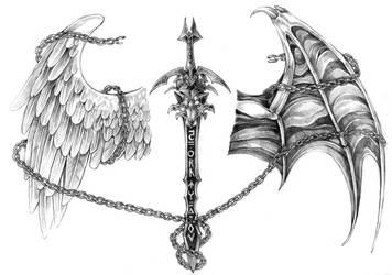 Sword-wolf tattoo