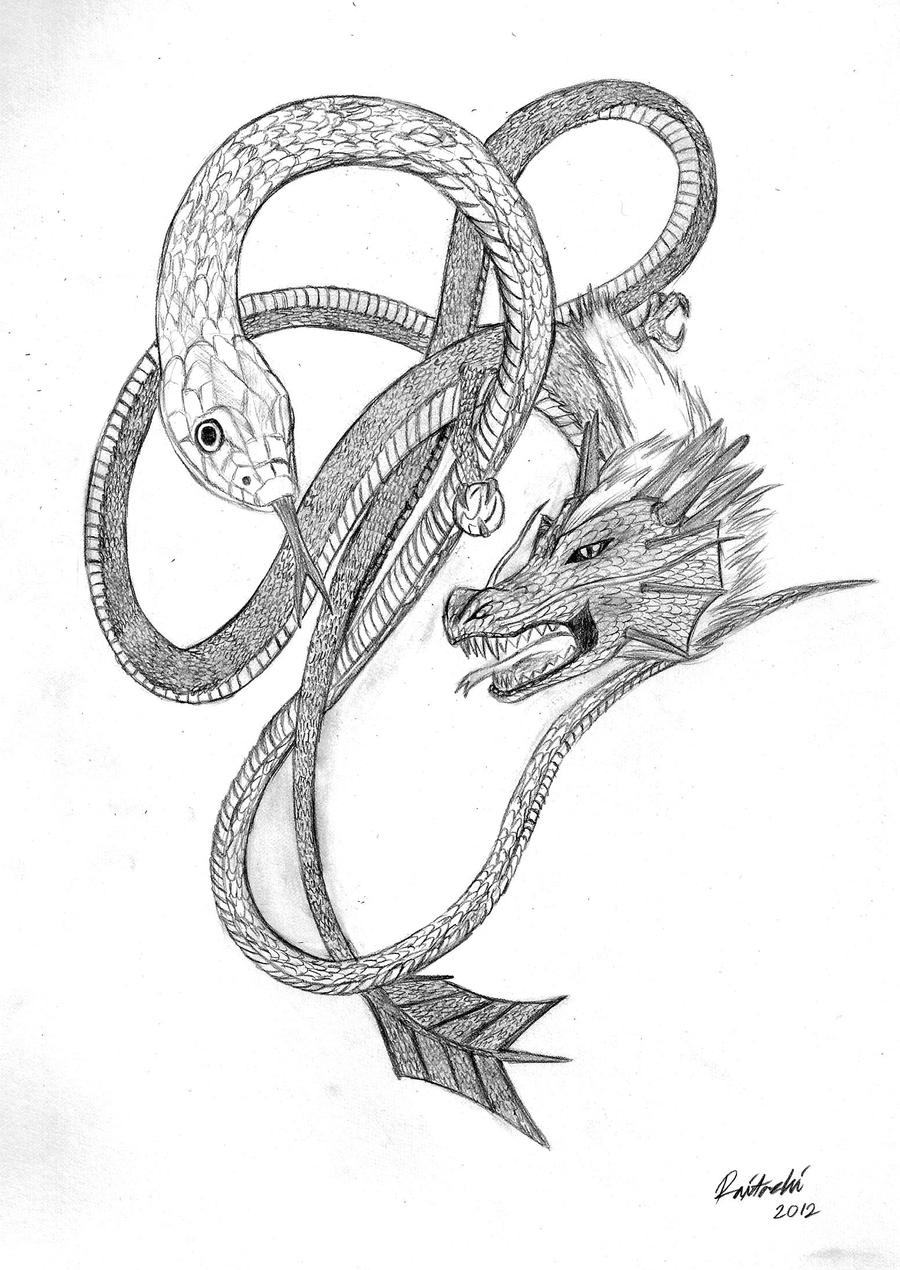 Snake Dragon Tattoo Snake and a dragon by raitachiDragon Snake Tattoo