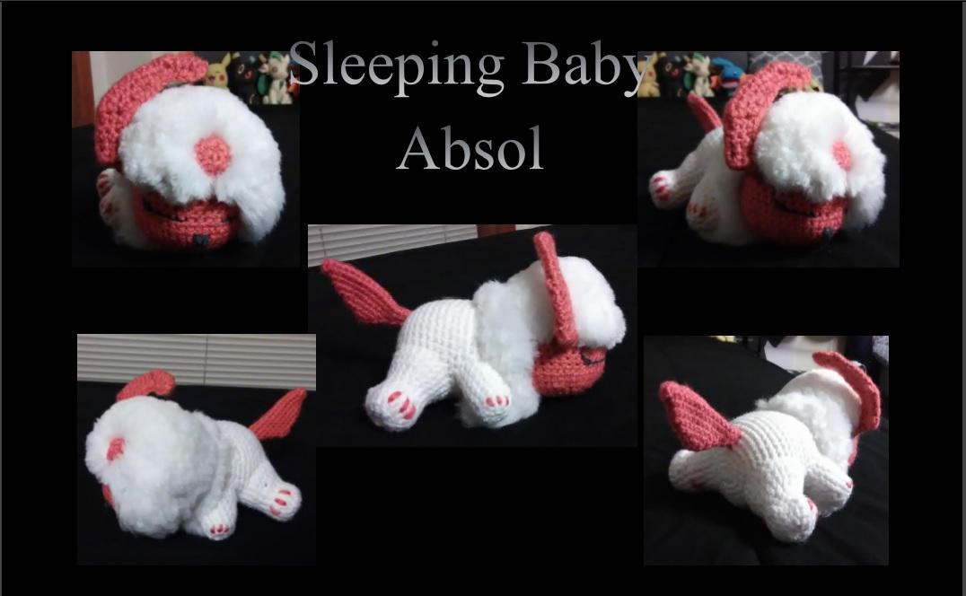 Shiny, Sleeping Baby Absol Amigurumi