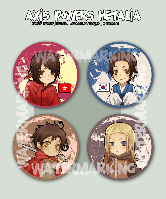 + Hetalia Buttons set 3+ by goku-no-baka