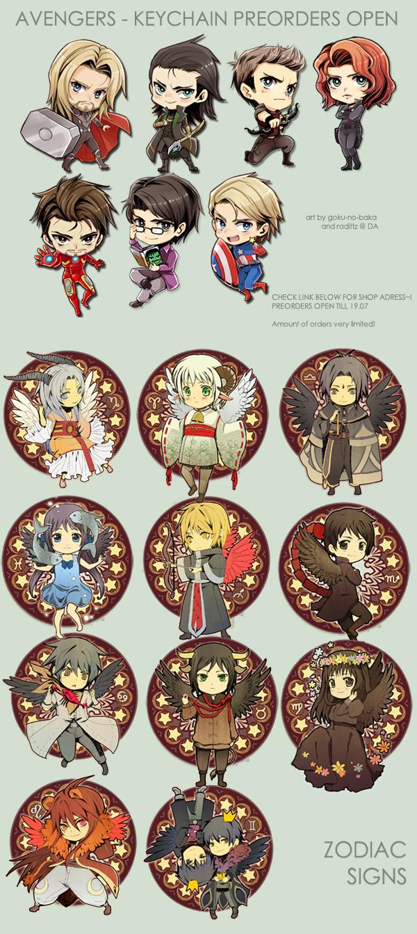 Avengers- Zodiac- Keychain preorders open by goku-no-baka