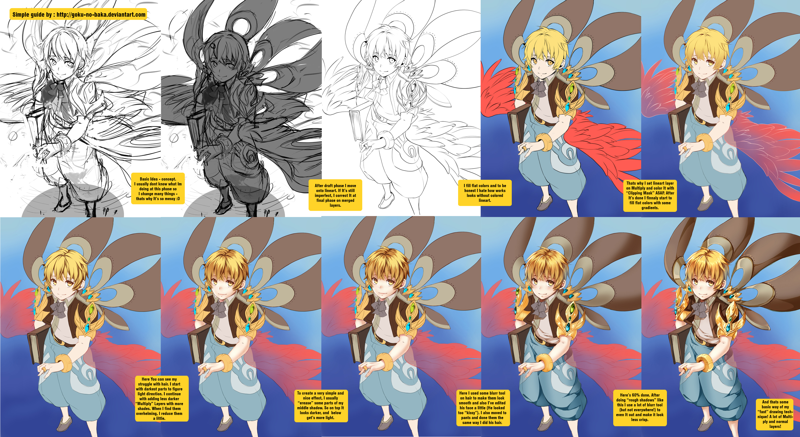 Coloring traditional art in photoshop by yaoi world on deviantart coloring tutorial wip by goku no baka baditri Images