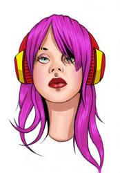Headphone Girl - Colour
