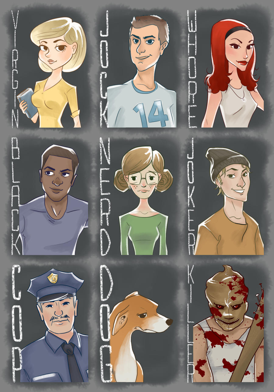 Horror Movie Cliched Characters by new-moon-night