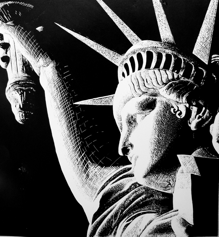 Statue Of Liberty By New Moon Night