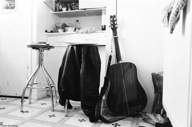 Two stools and a guitar