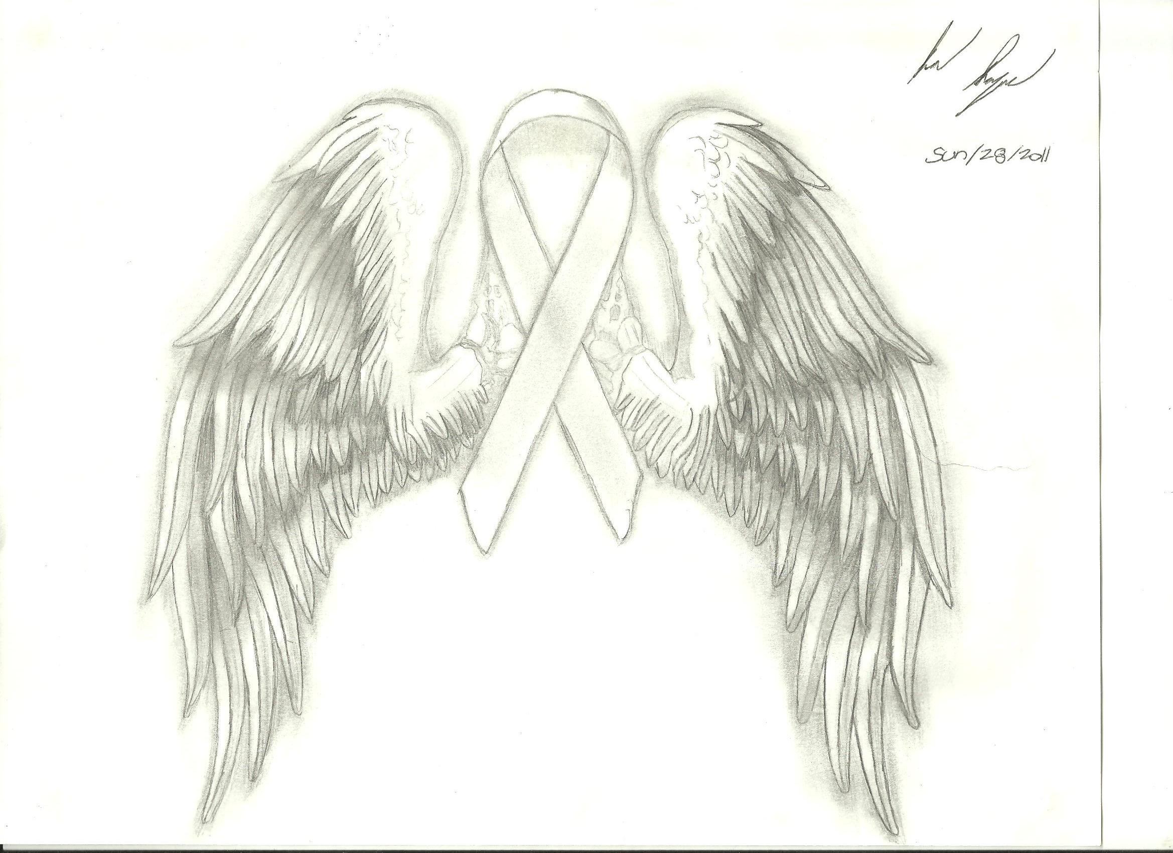 breast cancer ribbon with wings by naageson95 on deviantart. Black Bedroom Furniture Sets. Home Design Ideas