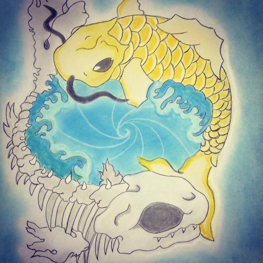 Yin yang koi fish life and death by rouchink on deviantart for Koi fish lifespan
