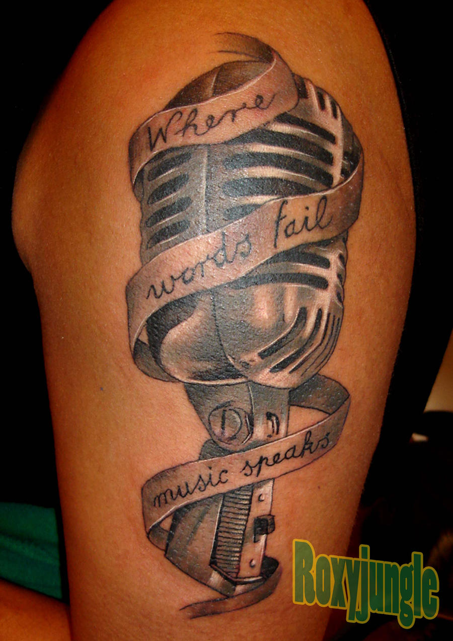 microphone tattoo designs for men the image kid has it. Black Bedroom Furniture Sets. Home Design Ideas
