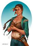 Commission - The One-Eyed Captain by LiberLibelula