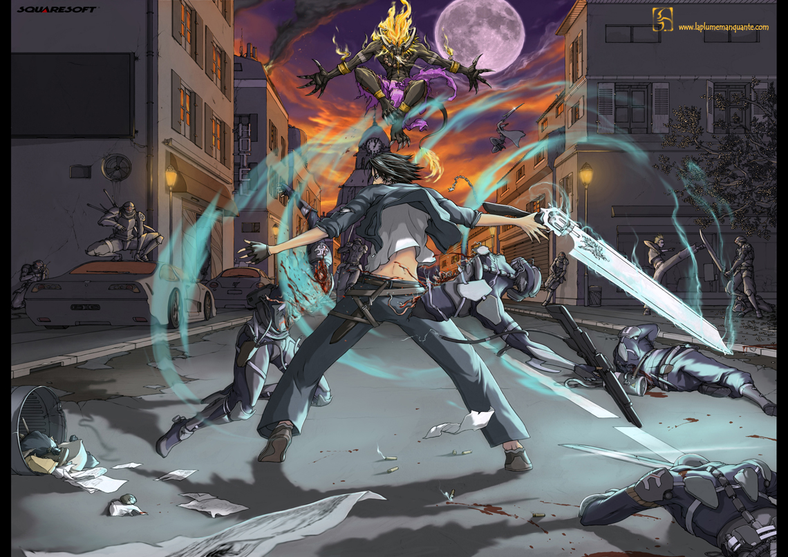 Ifrit, Seifer Almasy, Squall Leonhart, And Zell Dincht