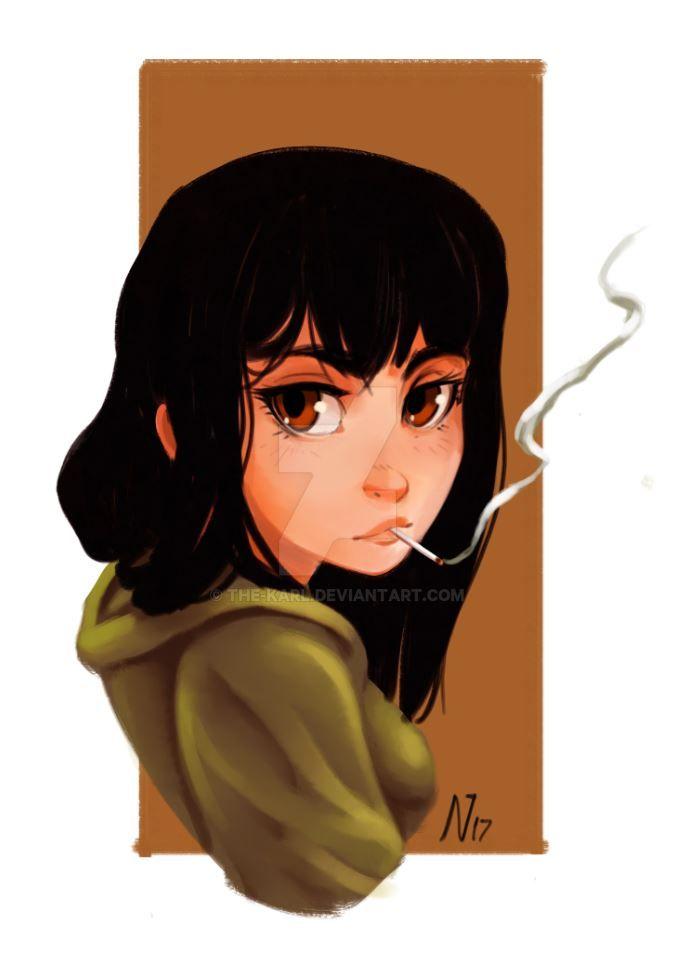 Smoking Girl by the-karl