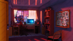 Room design background for visual novel by LeksaArt
