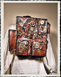 Steampunk leather bagpack