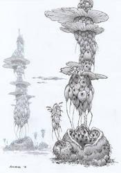 Alien tree drawing