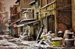 Snowy Street in the Night