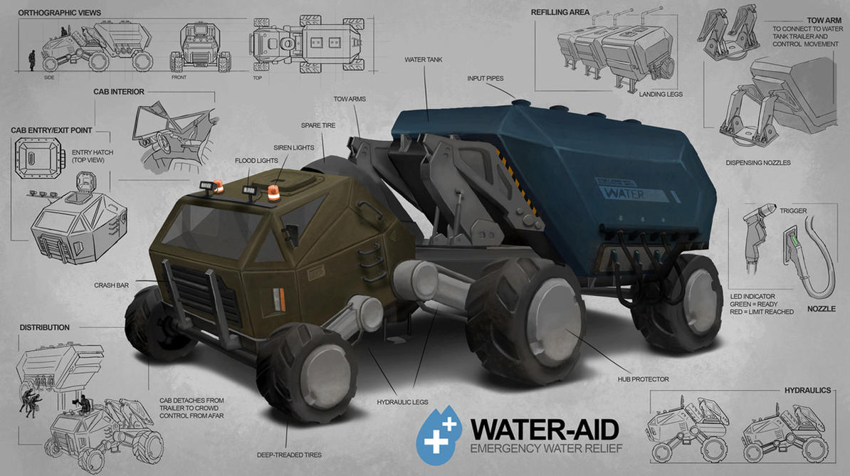 Emergency Water Relief Vehicle by freakyfir