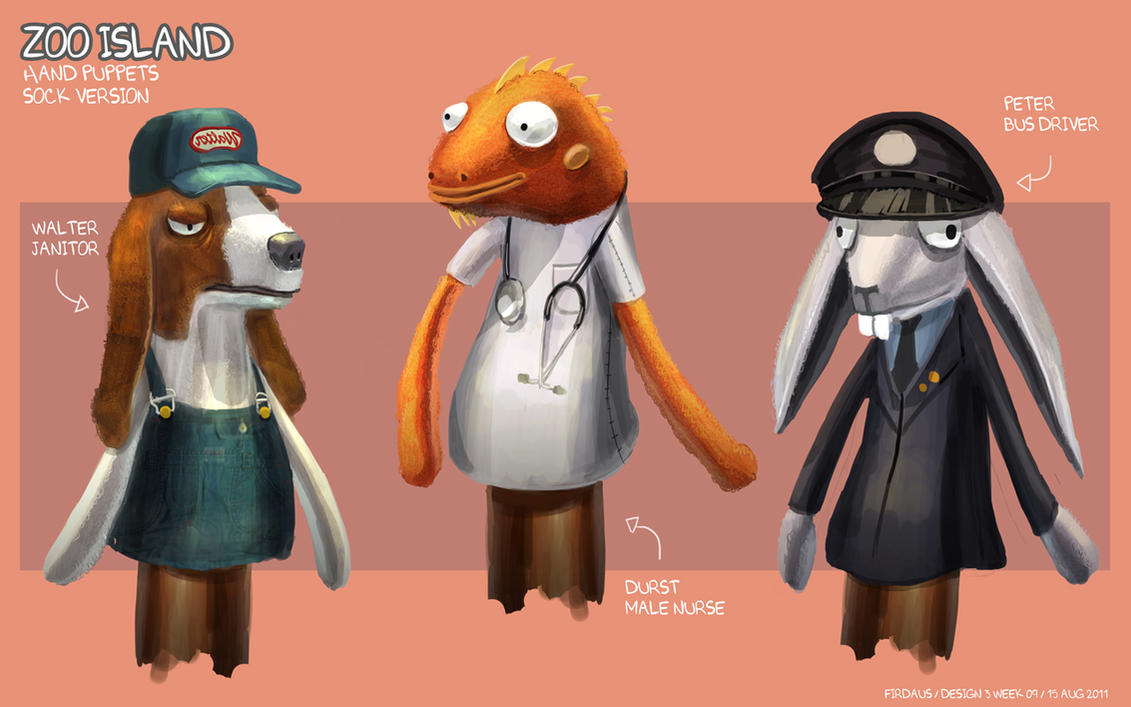 Zoo Island Hand Puppets - Sock Version by freakyfir