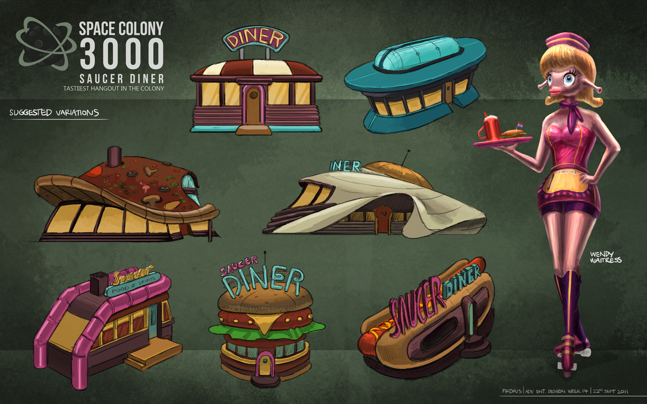 Space Colony 3000 - Diner Designs by freakyfir
