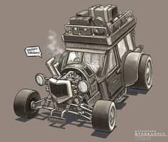 Steampunk Stagecoach by freakyfir