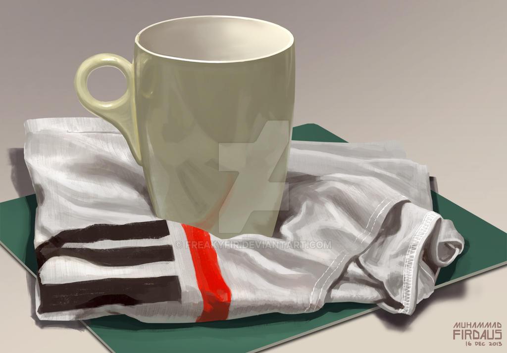 Still Life Study - Cup on Cloth by freakyfir