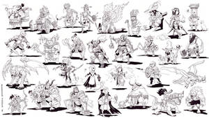 Inktober 2014 Compiled - RPG Heroes and Villains