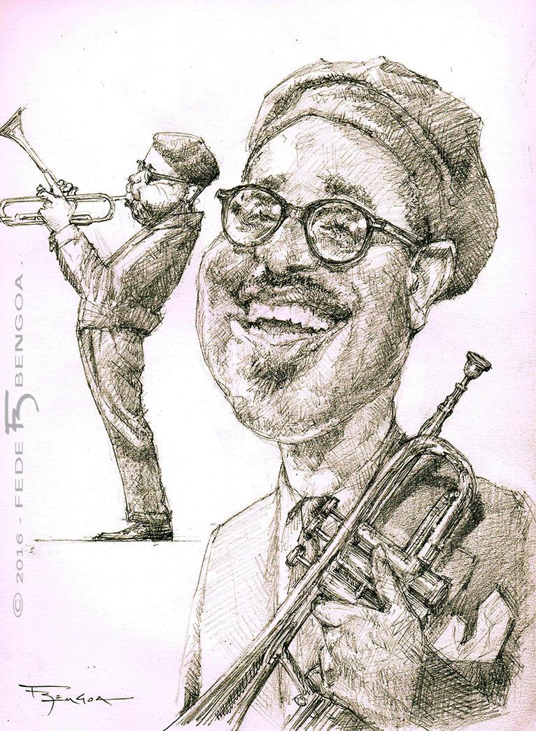 Dizzy Gillespie caricature by FedeBengoa