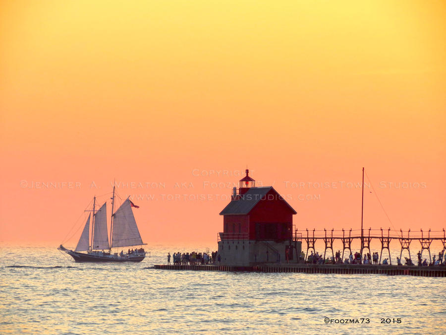 Sailboat at Outer Lighthouse by Foozma73