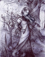 Violinist now with background by dais-firefly