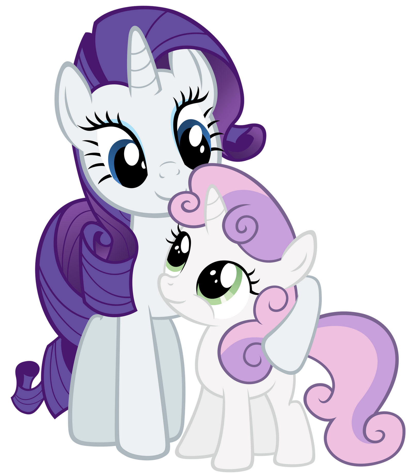 Rarity and Sweetie Belle being cute by Stabzor