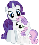 Rarity and Sweetie Belle being cute