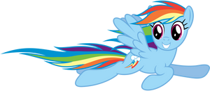 Rainbow Dash flying by
