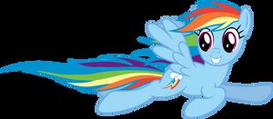 Rainbow Dash flying by