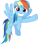 Rainbow Dash grinnig and pointing