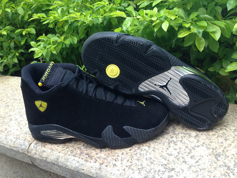 Authentic Air Jordan 14 Black Suede Shoes